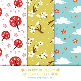 Collection de trois motifs de fleurs de cerisier