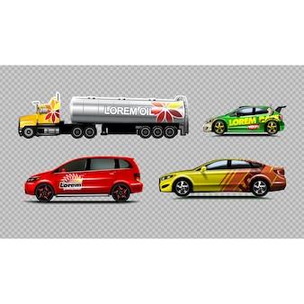 Collection de véhicules colorés