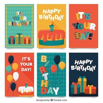 Collection de voeux d'anniversaire rétro colorée