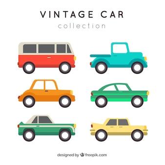 Collection de voitures rétro en design plat