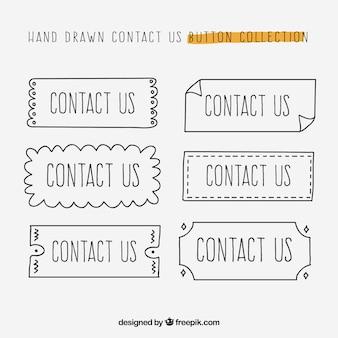 Collection des boutons de contact dessinés à la main
