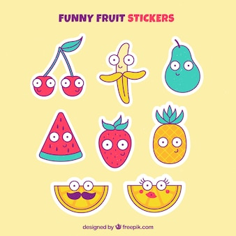 Collection drôle d'autocollants pour fruits