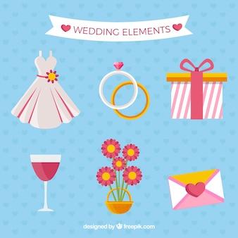 Collection fantastique d'articles de mariage plat
