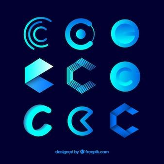 Collection futuriste de modèle de lettre logo c
