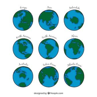 Collection globe terrestre