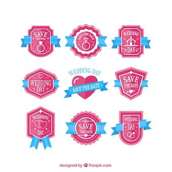 Collection mignonne badge jour du mariage rose