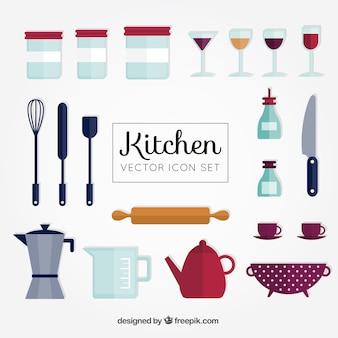 Collection mignonne de ustensiles de cuisine plats