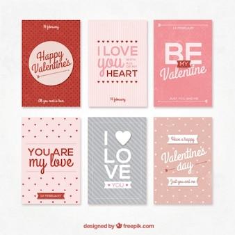 Collection rétro de Valentines cartes de jour