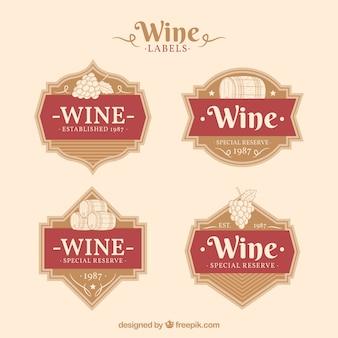 Collection vintage d'étiquettes de vin