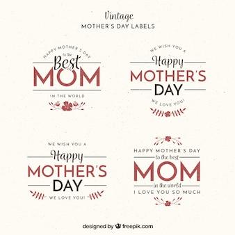 Collection Vintage des étiquettes de jour de mère fantastique