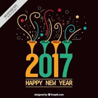 Coloré nouvel arrière-plan de l'année avec des confettis