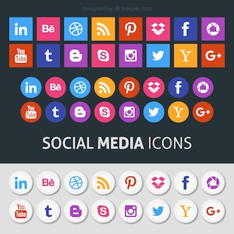 Colored icônes de médias sociaux