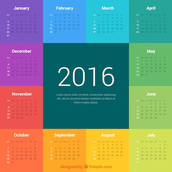 Colorful 2016 calendar