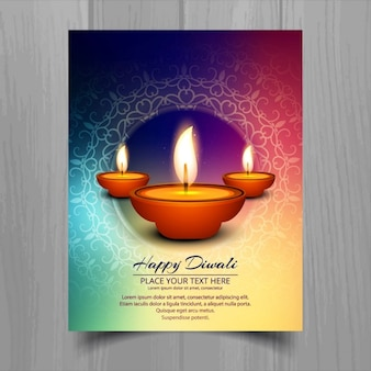 Colorful brochure diwali heureux