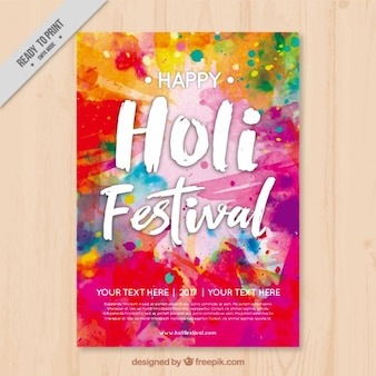 Colorful flyer template holi