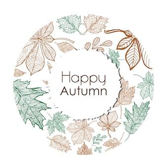 Colorful Line Art Autumn Backgrounds