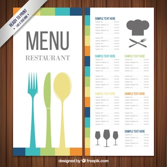 Colorful menu template