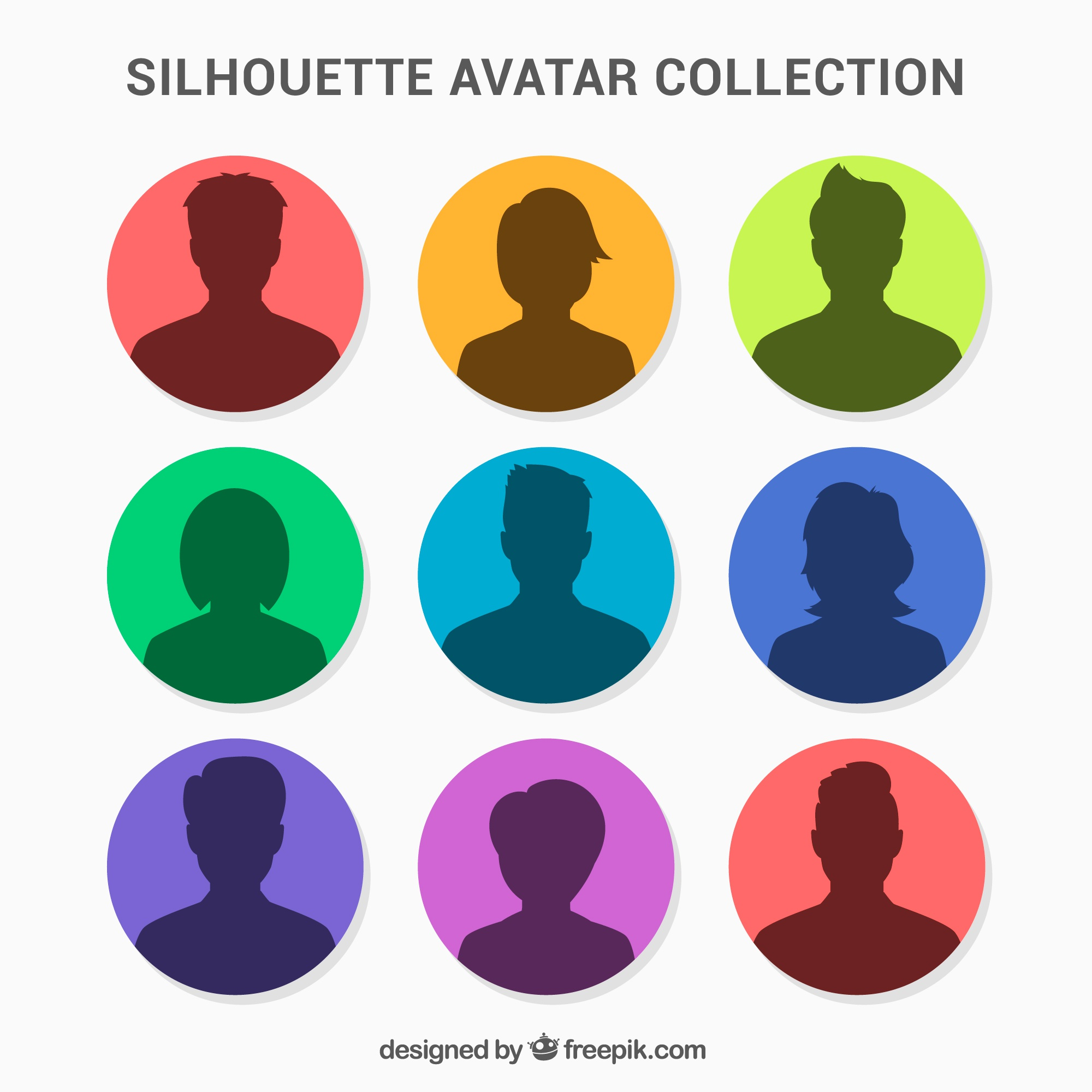 Colorful pack of silhouette avatars