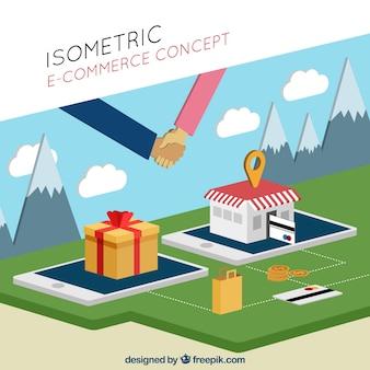 Concept d'e-commerce isométrique