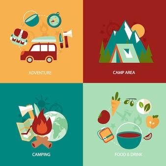 Concept d'entreprise icônes plates ensemble de zone de camping aventure nourriture et boisson infographique éléments de conception illustration vectorielle