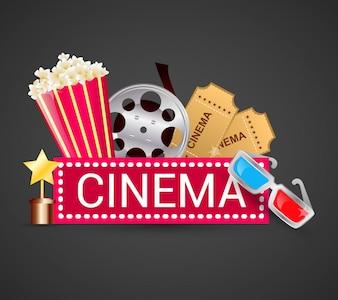 Concept d'icônes de cinéma