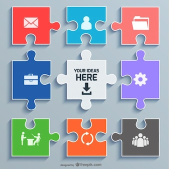 Concept de bureau de puzzle modèle