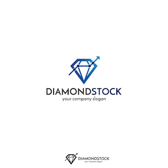 Concept de logo de ligne de graphique et de diamant pour le marché boursier, les finances ou les entreprises.