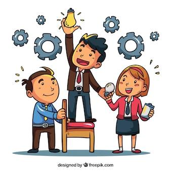Concept de travail en équipe avec des personnages dessinés à la main
