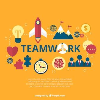 Concept de travail en équipe moderne avec des éléments