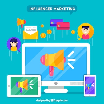 Concept marketing influenceur créatif