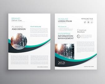 Conception de brochure avec modèle de forme d'onde bleue