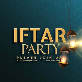 Conception de carte d'invitation du parti iftar avec des lampes suspendues