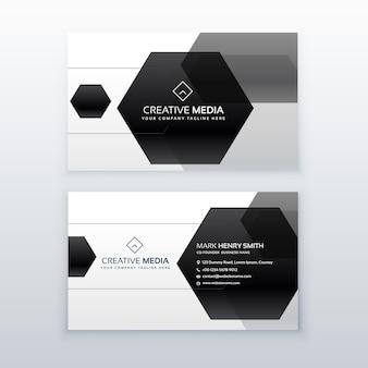 Conception de carte de visite moderne faite avec des formes hexagonales noires