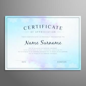Conception de certificat artistique abstrait