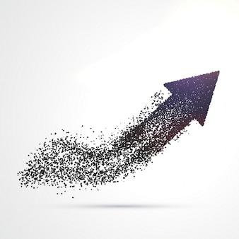 Conception de flèche abstraite faite avec des particules