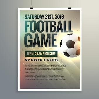 Conception de football événement dépliant avec les détails du tournoi