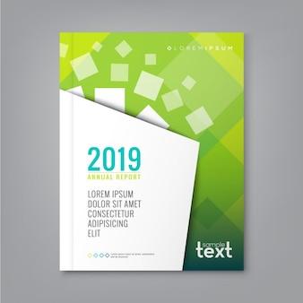 Conception de forme abstraite sur fond vert pour le rapport annuel d'affaires affiche la couverture du livre brochure flyer