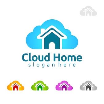 Conception de logo vectoriel de nuage de maison