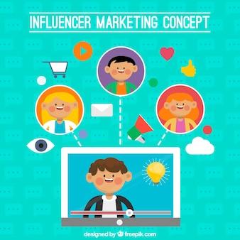 Conception de marketing d'influence drôle