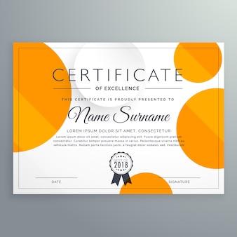Conception de modèle de certificat moderne avec cercles orange et blanc