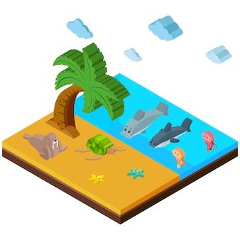 Conception de plage isométrique