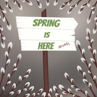 Conception de printemps avec des branches de saule chatte