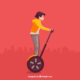 Conception de scooter électrique avec une fille aux cheveux courts