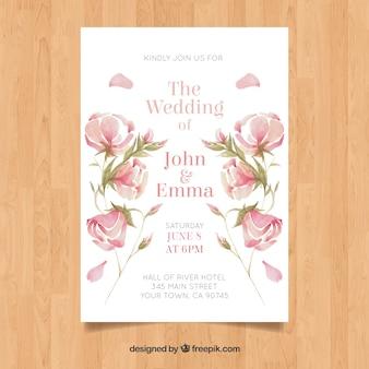 Conception florale de carte de mariage