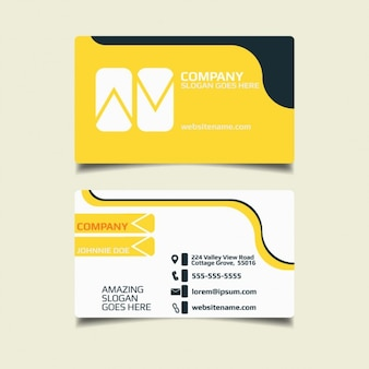 conception jaune simple carte de visite