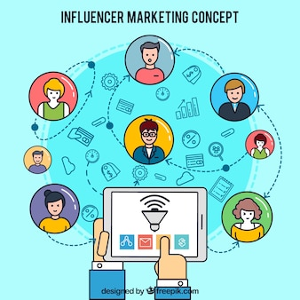 Conception marketing d'Influencer avec tablette