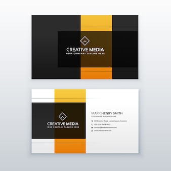 Conception minimaliste minimaliste de carte de visite jaune et noir