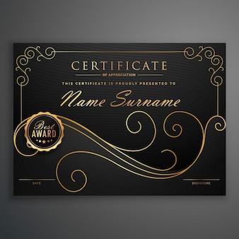 Conception modèle de certificat premium noir et or