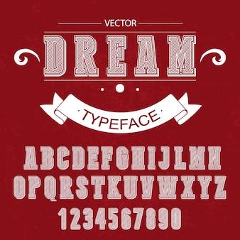 Conception vectorielle d'alphabet vintage