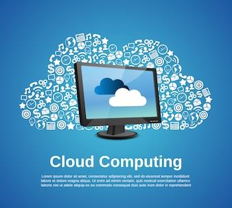 Concepts informatiques en nuage avec des icônes de moniteur et d'entreprise